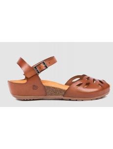 Tan leather peep toe sandals Yokono