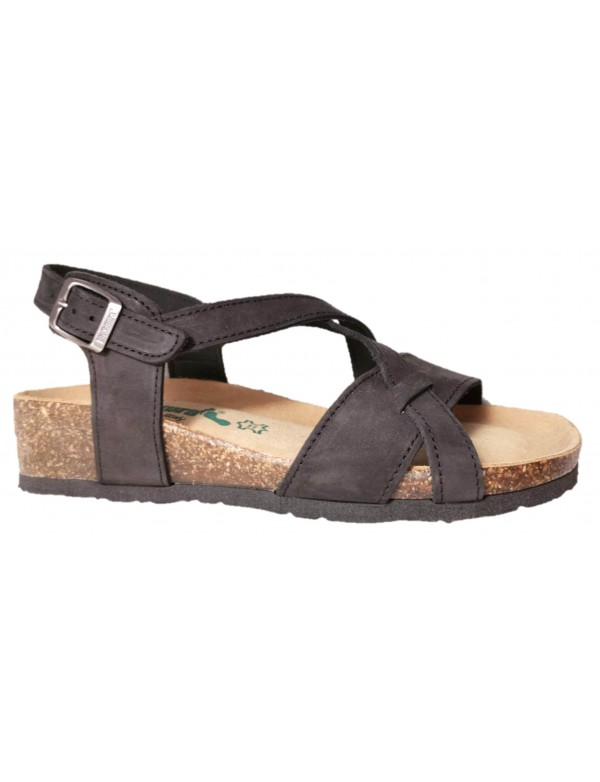 Italian leather crossed sandals with wedge, by Bionatura