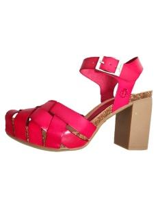 Sandali rossi con tacco in gomma