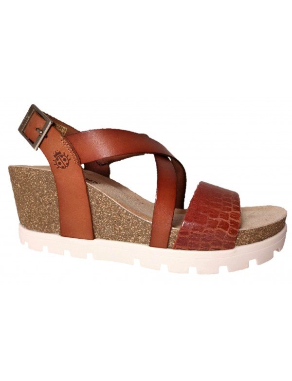 High wedge leather sandals for ladies