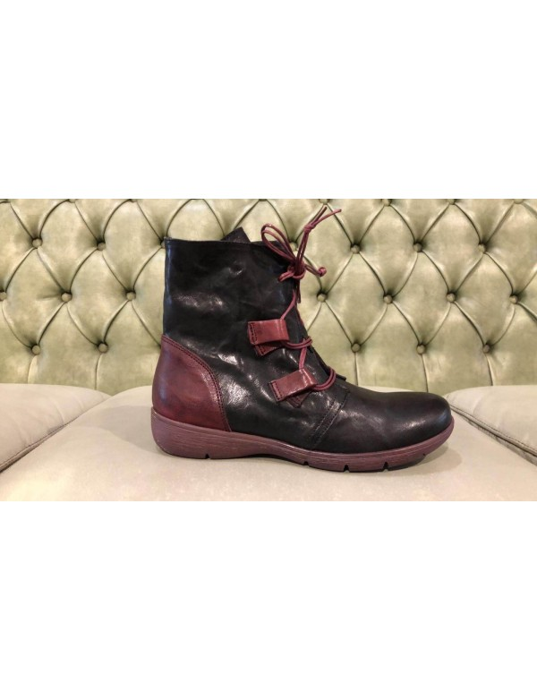 Black and red boots for women