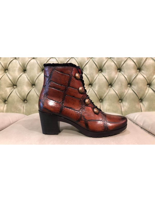 Brown leather trendy booties