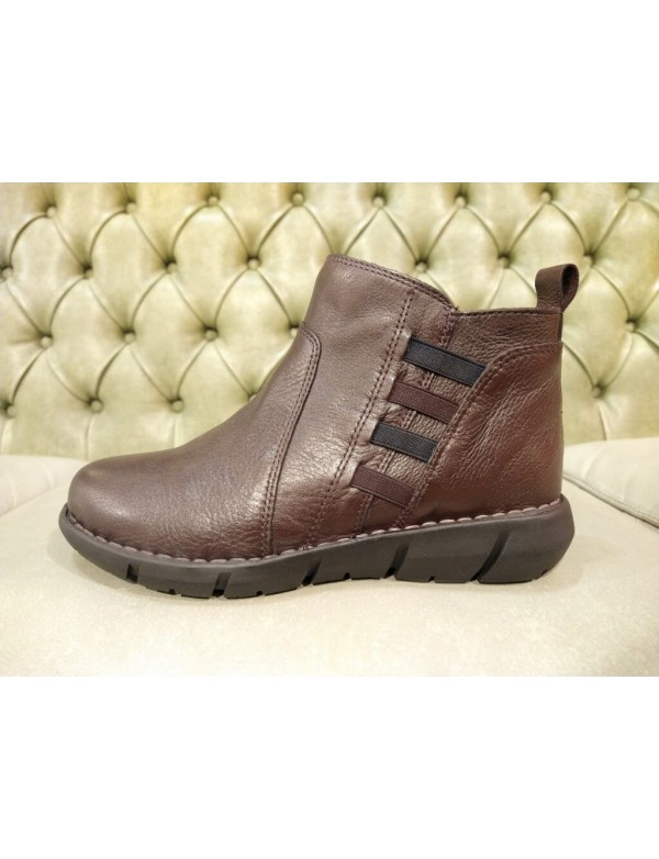 Ankle shoes for women, brown leather