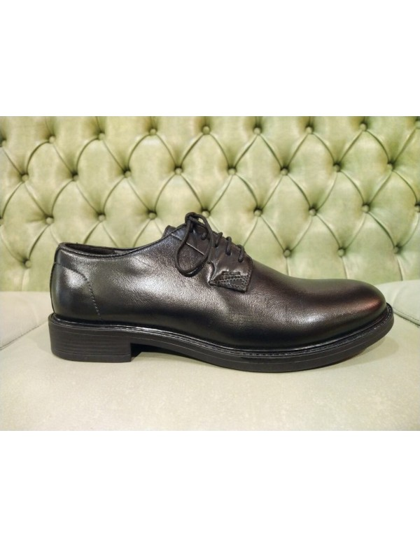 Leather casual shoes for men, plain toe derby