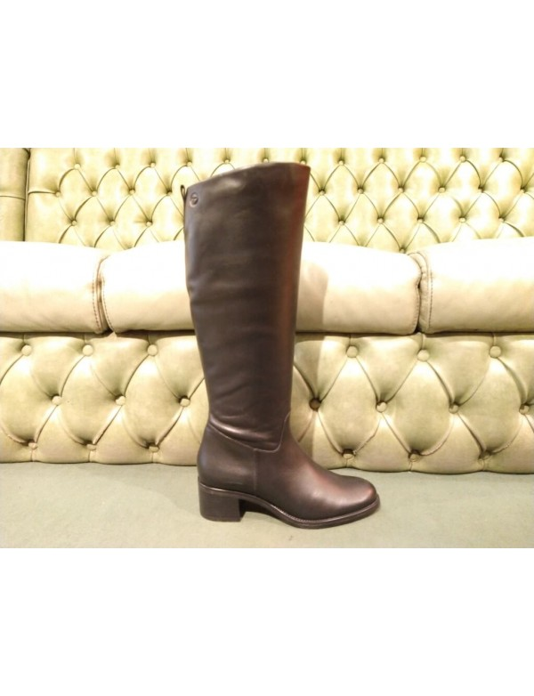 Black leather high boots, Tamaris 25569