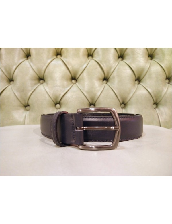 Blue leather belt for men, made in Italy