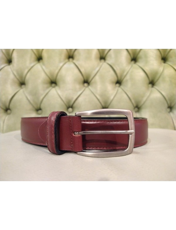 burgundy dress belt for men, made in Italy