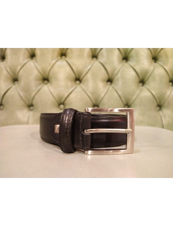 Black leather belt for men, Florentine leather