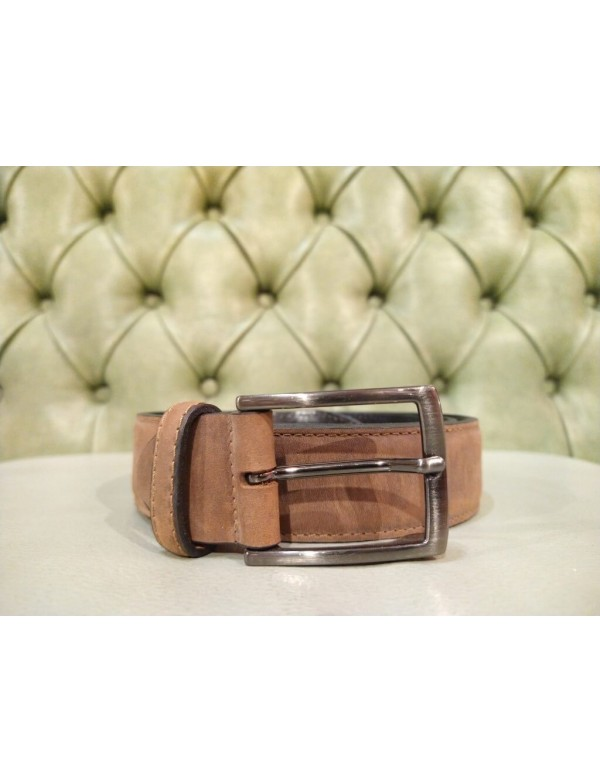 Genuine nubuck leather belt for men