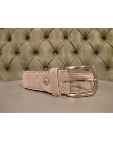 Brown leather belt for men, Florentine leather