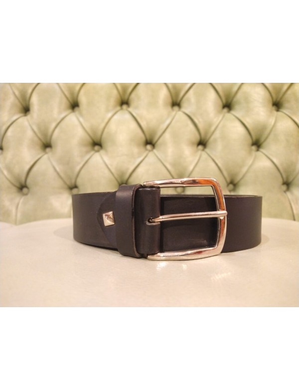 black elather belt for men with silver buckle