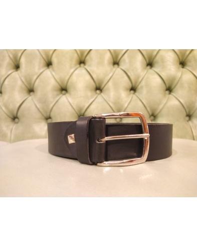 black elather belt for men with silver buckle