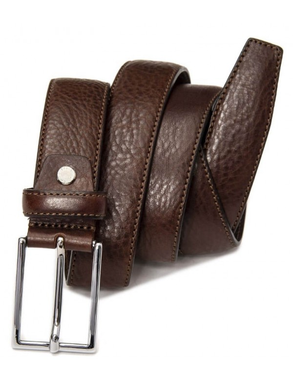 Single sewing brown leather belt for men, made in Italy
