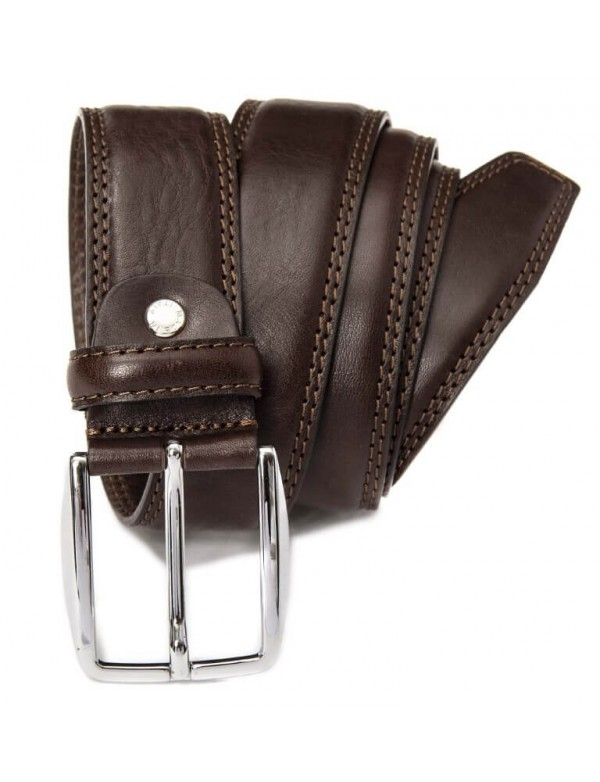 Double sewing line belt for men, made in Italy