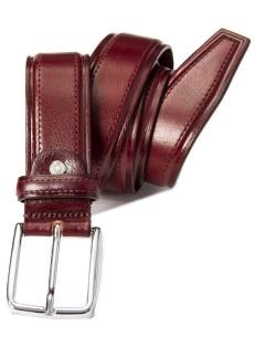 Cintura in pelle lucida bordeaux, da uomo