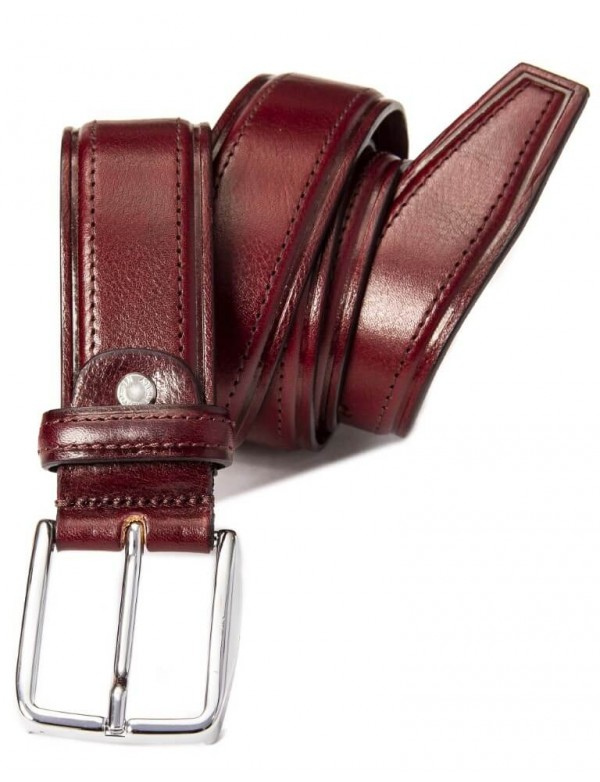 Men's classic leather belt, burgundy