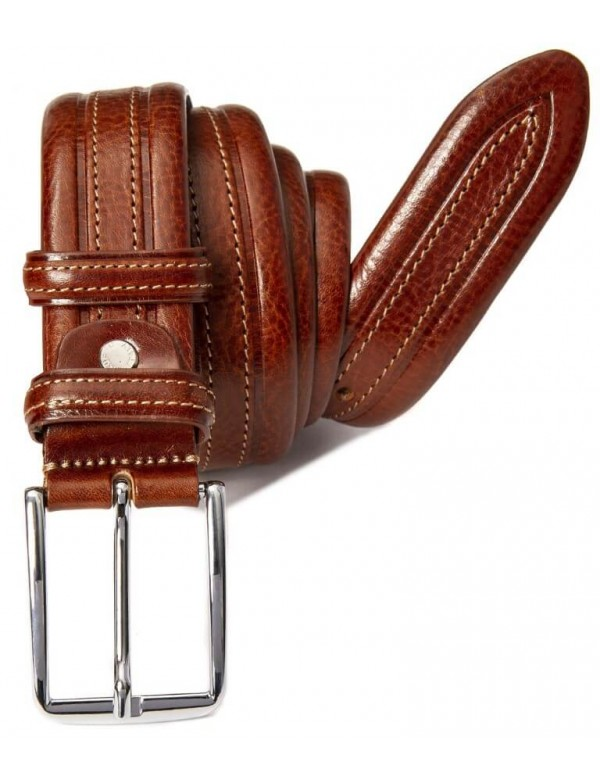 Double sewing old fashion belt for men