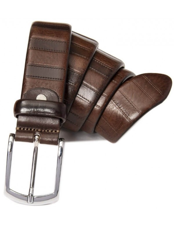 Vertical pattern leather belt for men