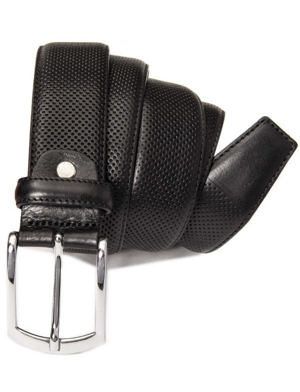 Black leather belt with squared pattern