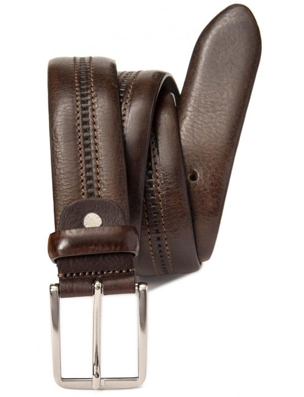 Brown leather belt, with a central line