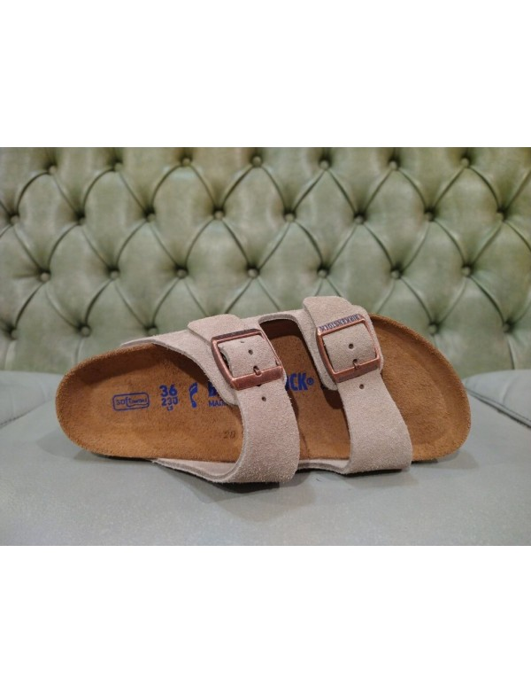 Birkenstock Arizona sandal, SFB, taupe suede leather