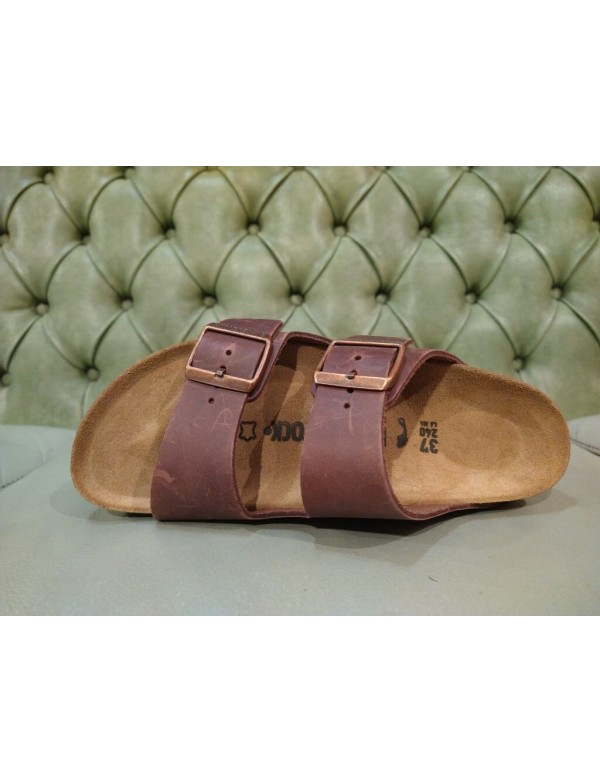 Birkenstock sandalo Arizona marrone, in pelle