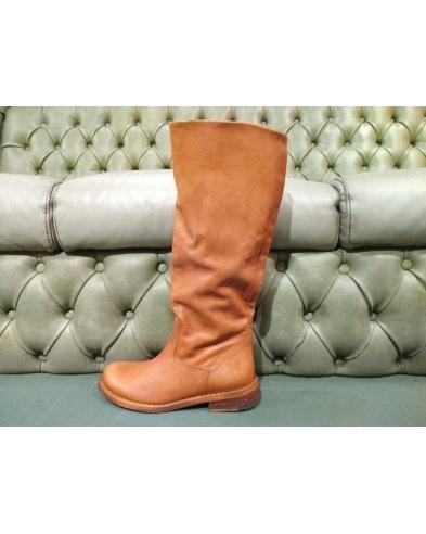 Tan leather boots for women, Felmini