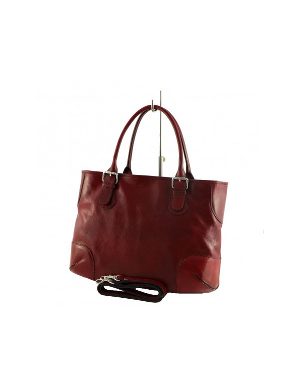 Red leather bag, made in Italy