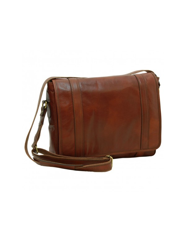 Leather messenger bag, brown. Made in Italy