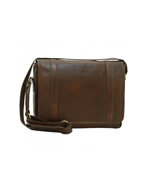 Brown leather messenger bag,  handmade