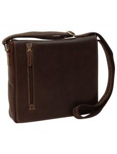 Messenger bag in dark brown leather