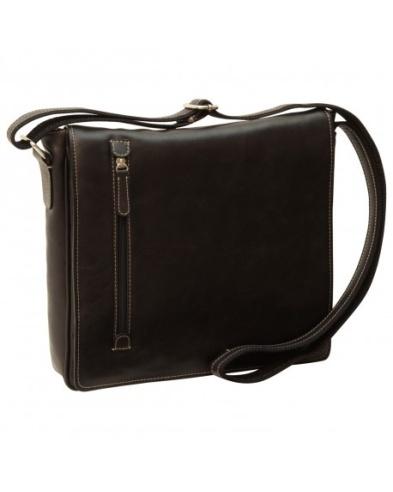 Black messenger bag, hand crafted