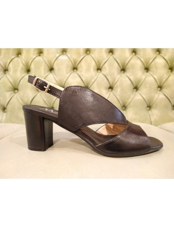 Black heeled sandals, made in Italy