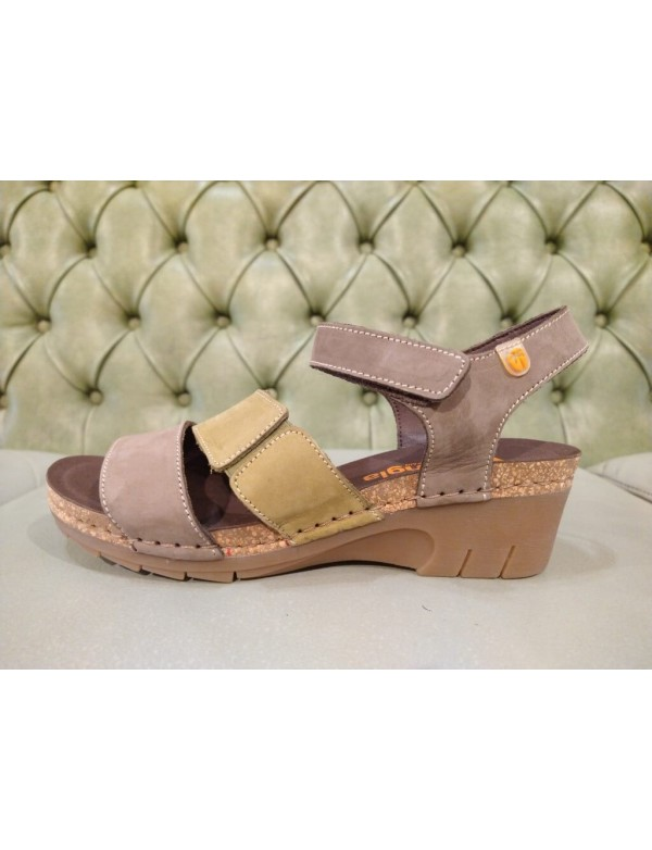 Leather wedge sandals for women, Jungla