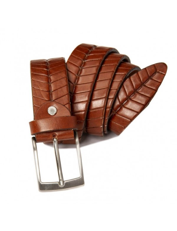 Handmade brown leather belt, made in Italy