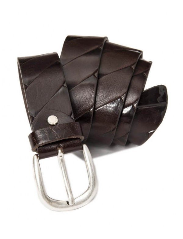 Mens brown leather belt, hand made in Italy