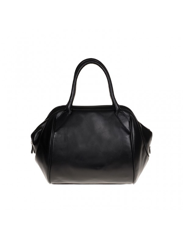 Black leather satchel bag for women, made in Italy