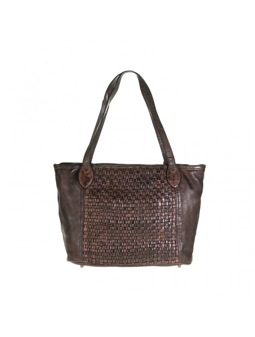 Italian leather woven handbag, brown