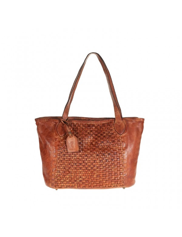 Tan woven leather tote bag, made in Italy