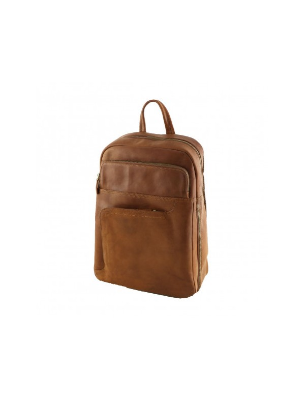 Leather backpack made in Italy, unisex style
