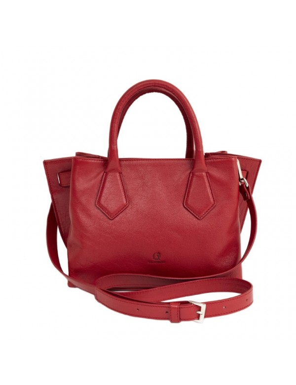Red leather shoulder bag, made in Italy