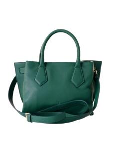 Borsa da donna in pelle verde smeraldo, made in Italy