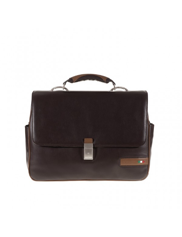 Work bag with compartments, in genuine leather