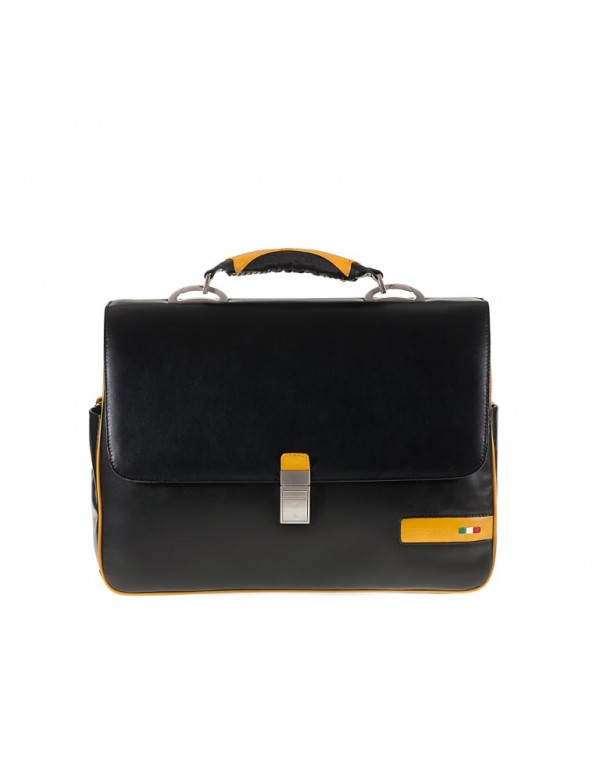 Business bag, in genuine leather, for laptop