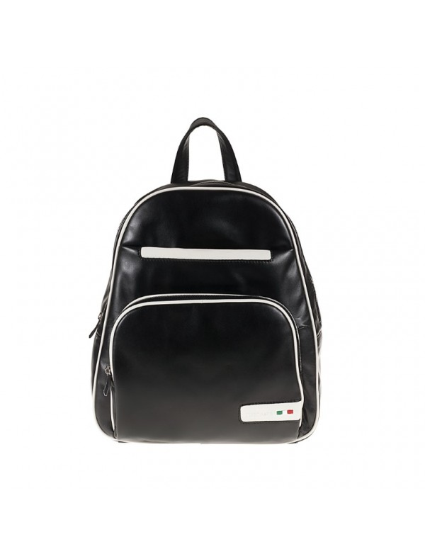 Black leather fashion backpack, made in Italy