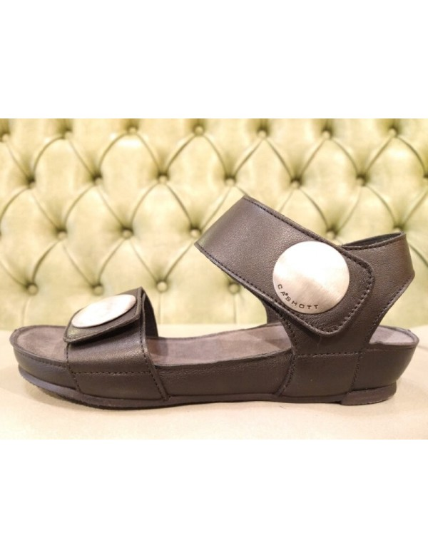 Women's sandals with velcro straps, leather