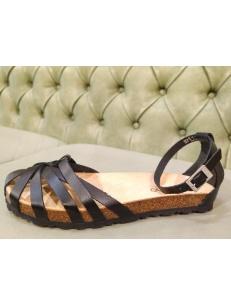 Sandali bassi a gabbietta, neri