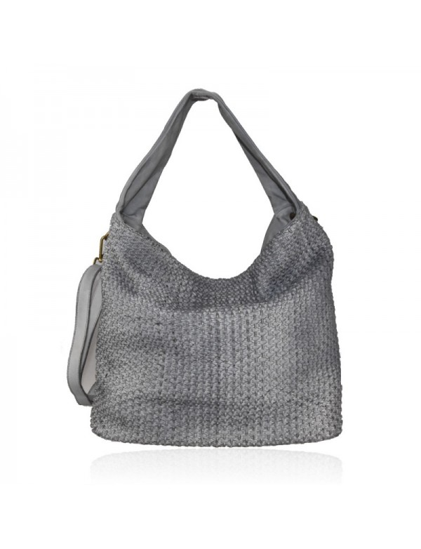 Woven leather bucket bag, made in Italy
