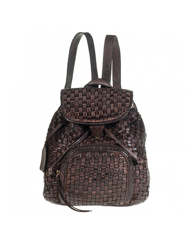 Woven leather backpack, made in Italy