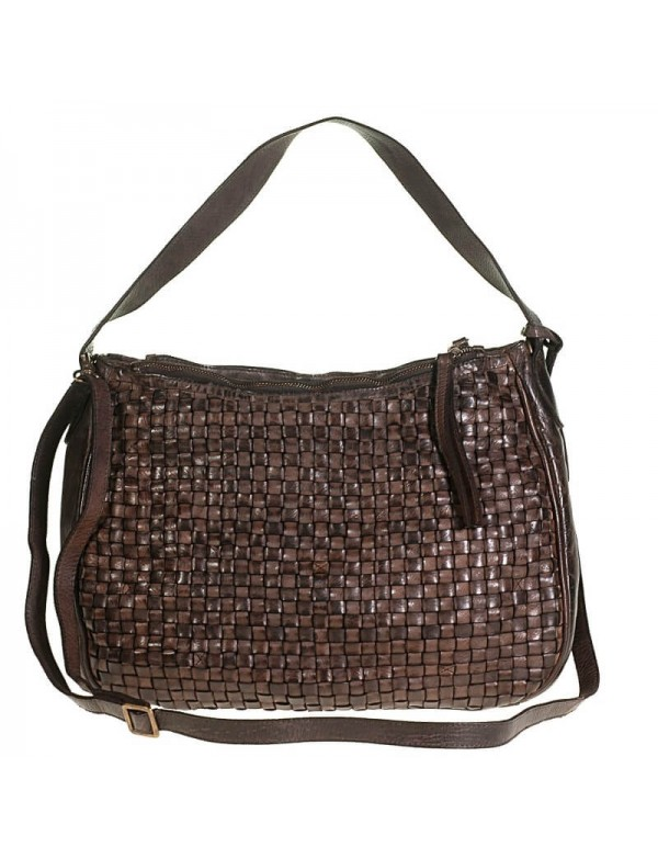 Woven leather bag made in Florence, Italy
